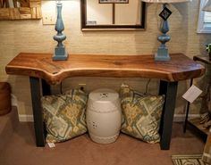 solid walnut live-edge slab console table by Elledesigninc on Etsy