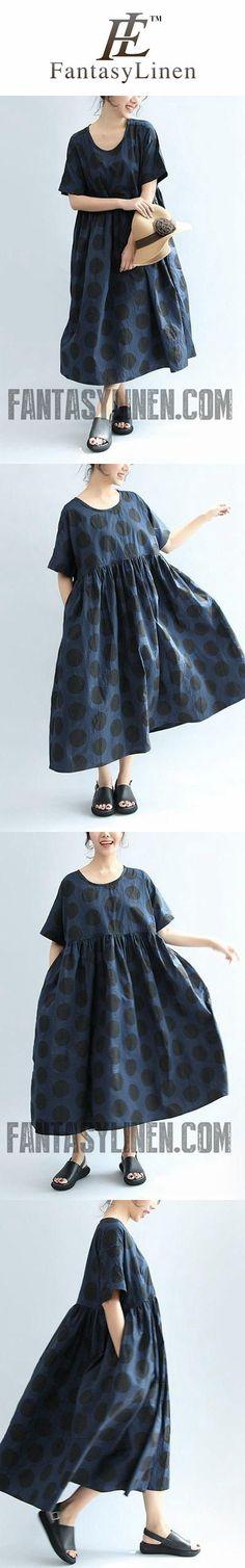 BLUE DOT LOOSE CASUAL HIGH WAIST LOVELY COTTON DRESS WOMEN CLOTHES