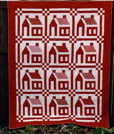 "free miniature quilt patterns to print | Little Red Schoolhouses, made and quilted by Mary Stori, 56 1/2"" x 71 ..."