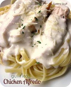 Guiltless Chicken Alfredo Recipe:.....finally....an Alfredo sauce with NO heavy cream!  I would also leave out the salt...there is enough of that in the rest of the ingredients.