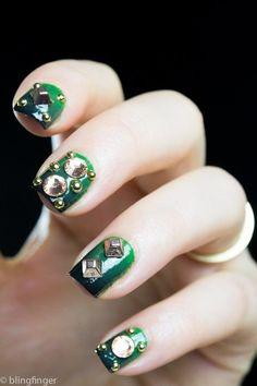 Studded Gradient Nail Art #greenpolish #ombre #nailart - bellashoot.com & bellashoot iPhone & iPad app