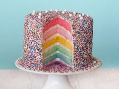 This bright, multi-hued Rainbow Layer Cake is a festive addition to any party.