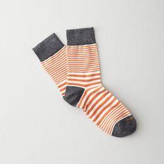 Etiquette Clothier striped socks from the finest Italian cotton yarns. Crazy Socks, Cool Socks, Awesome Socks, Blue Socks, Striped Socks, Foot Warmers, Funny Socks, Designer Socks, Steven Alan