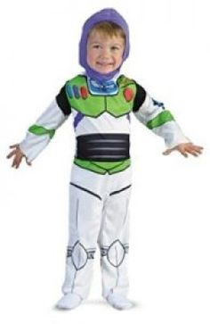 Child Buzz Lightyear Costume Printed Jumpsuit w/ attached HoodYou can go to infinity and beyond this Halloween. This child Buzz Lightyear costume features a on