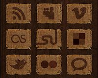 Woven Fabric Social Media Icon Set - free for personal and commercial use - at webdesignerdepot.com