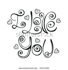 Vector hand written I Love You letters with hearts. Artistic doodle phrase In Love isolated on white for Happy Valentine's Day Card, banner, etc.  - stock vector