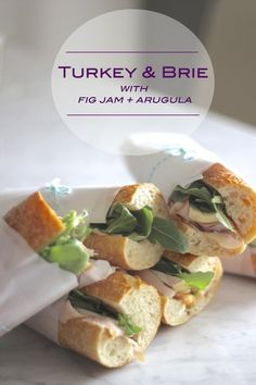 (I'd change arugula to spring mix bu… Turkey, brie, fig jam + arugula sandwiches. (I'd change arugula to spring mix but otherwise Yummy! Perfect for lunch at work during the week. I Love Food, Good Food, Yummy Food, Turkey Sandwiches, Picnic Sandwiches, Fig Jam, Whats For Lunch, Picnic Foods, Le Diner