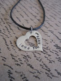 love you moreHand Stamped Heart Pendant Necklace by girlinair, $10.00