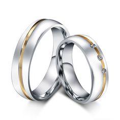 Cz anillo de bodas de diamante para las mujeres de los hombres de acero inoxidable 316l amor titanium anillo aaa + cubic zirconia anillo de compromiso al por mayor