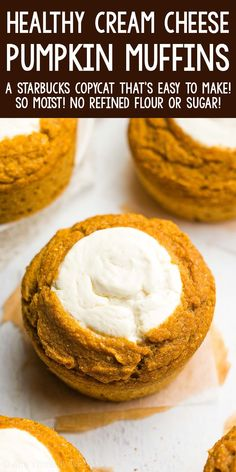 Pumpkin Cream Cheese Muffins, Pumpkin Cream Cheeses, Healthy Pumpkin Muffins, Pumpkin Recipes, Fall Recipes, Holiday Recipes, Healthy Sweets, Healthy Baking, Healthy Recipes