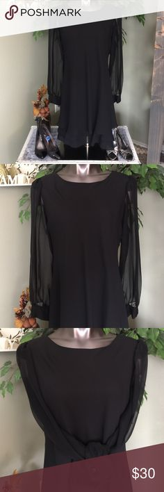 👗GORGEOUS BLACK MIDI DRESS W/ SEE THROUGH SLEEVES 💖SUPER PRETTY, SIMPLE BLACK MIDI, LONG SLEEVE DRESS. VERY COOL TRIPLE RUFFLE HEM LINE! SEE THROUGH LONG SLEEVES WITH GORGEOUS BLACK JEWEL LOOKING BUTTONS! SUPER EASY TO WEAR! ZIP BACK CLOSURE WITH SINGLE BUTTON AT THE TOP. I have so many beautiful, various style and sizes of shoes in my closet that would pair perfectly with this dress! Own a new, expensive, high quality outfit for fall/winter events at thrift store prices! 💖 Hampton Nites…
