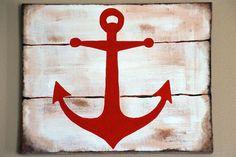 "8""X10"" Nautical Anchor acrylic painting"