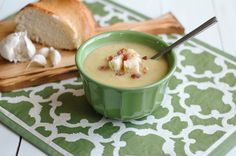 Roasted Garlic Soup... with potato, can be topped with bacon. Can be vegetarian, low carb, paleo, clean eating friendly.