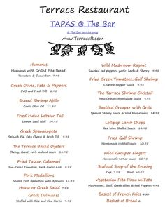 for The terrace restaurant menu
