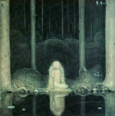 Princess Tuvstarr and the Fishpond painted  by John Bauer in 1913