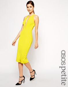 ASOS Petite | ASOS PETITE Ultra Plunge T-Bar Scuba Pencil Dress at ASOS