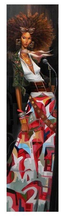 Kunst Bilder ideen - The Songstress - giclee on canvas - Frank Morrison - Beste Art Pins African American Art, African Art, African Culture, Frank Morrison Art, Natural Hair Art, Black Artwork, Afro Art, Black Women Art, Pics Art