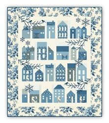 Winter Village Block of the Month with by Edyta Sitar - Optional Light Blue Floral Outer Border Layout - Start Anytime! by Laundry Basket Quilts - Edyta Sitar Sampler Quilts, Star Quilts, Quilt Blocks, Scrappy Quilts, Quilting Projects, Quilting Designs, Quilt Design, Patchwork Quilt Patterns, Quilting Patterns