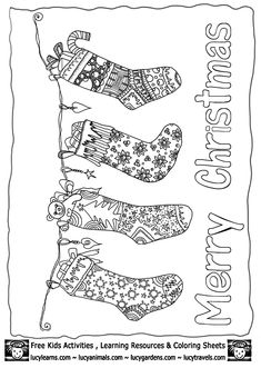 Christmas Stocking Coloring Page Template Collection, Xmas Coloring Pages To Print, Coloring Book Pages, Coloring Pages For Kids, Christmas Colors, Kids Christmas, Christmas Crafts, Free Christmas Coloring Pages, Xmas Stockings, Christian Christmas