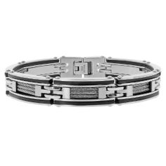 Men's Stainless Steel Cable and Rubber Bracelet with Black Plating, 8.5'' Amazon Curated Collection. $25.00. Stainless steel construction offers lasting shine. Made in China. Save 64% Off!