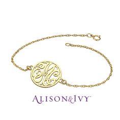 Alison & Ivy // Classic Cut out Bordered Monogram Bracelet, 20mm.