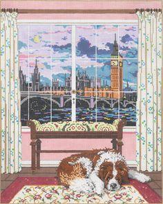 Nana, London window Sandra Gilmore needlepoint canvas