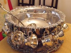 Silver Punch Bowl Set includs 12 cups, bowl, plate