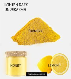 To get rid of dark underarm try this paste using turmeric. Take one tbsp. of honey, 3-4 tbsp. of lemon juice and mix it with 2-3 pinches of turmeric powder. Mix everything well and apply it on your under arm area. Let it stay for 10-15 minutes and then rinse off. Try this remedy daily to get rid of dark underarm area. Use the underarm whitening scrub before using the mask for better results.