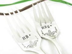 Hand Stamped Wedding Forks