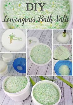 DIY Lemongrass Bath Salts are an easy homemade spa recipe. Great for handmade gifts or personal use.