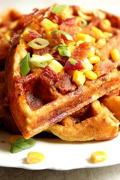 Cheddar Bacon Cornbread Waffles Recipe - savory take on waffles, filled with crispy bacon, freshly grated cheddar cheese, sweet corn and nicely seasoned with Ranch mix! So good as lunch and dinner too!