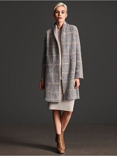 MOHAIR PLUSH MELANGE WINDOWPANE SHAWL COLLAR COAT $638 - Love this but I already have way too many Eileen coats and live in AZ :(