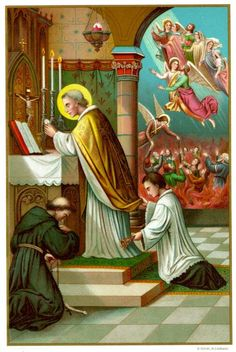 Praying to free the Holy Souls in Purgatory.