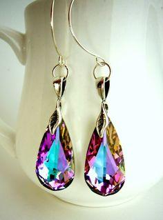 Vitrail Light Pink Swarovski Teardrop Earrings in by EstyloJewelry, $28.00