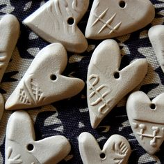 Set of ten ceramic hearts Heart shaped gift by TreasureCraftsBox
