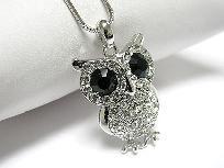 White gold plating crystal big eye owl pendant necklace $11.99