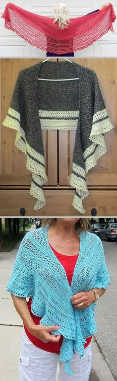 Desperately Seeking crescent shawl, free pattern by Min G. Shown in fingering to sock weight yarns worked with 4.5mm hook.