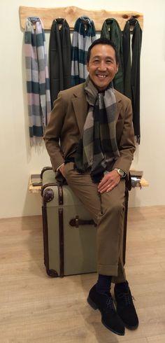 YASUTO KAMOSHITA, Creative Director at United Arrows in Japan, wearing Kishorn Box Check Scarf in Khaki Mix. Available from AW15.