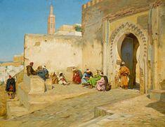 THE KASBAH GATE, TANGIERS - by Georges Bretegnier 1860 - 1892