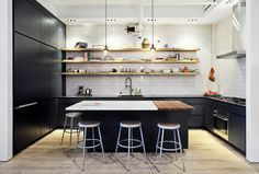 Like the butcher block section in the island. Also love the open shelves. Pretty much love this whole kitchen.  Ramsey Blumin loft kitchen by Laura Moss for the New York Times