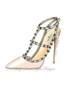 Nude Valentino cloutés talon Couture Fashion Illustration Art Print