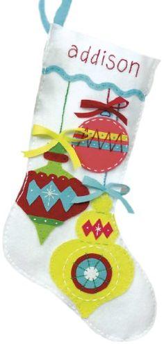 "Dimensions Crafts Felt Applique Stocking, Bright Ornament Dimensions Crafts 19"", 4 different designs."