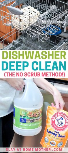 Try these two easy cleaning hacks to deep clean your dishwasher without having to scrub! Also learn how to remove and rinse your dishwasher's filter to get rid of excess food and bacteria. Cleaning Tips Deep Clean Your Dishwasher Without Scrubbing Cleaning Hacks Tips And Tricks, Household Cleaning Tips, Deep Cleaning Tips, Cleaning Checklist, House Cleaning Tips, Diy Cleaning Products, Spring Cleaning, Cleaning Lists, Cleaning Schedules