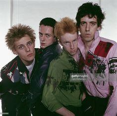 English punk group The Clash, circa 1977. Left to right: bassist Paul Simenon, singer Joe Strummer (1952 - 2002), drummer Topper Headon and guitarist