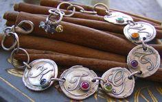 Vintage letters with gem stones...6 letter hand stamped fine silver wax seal style bracelet set with gem stones