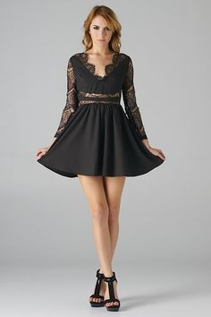 Long Sleeve, Lace Insets Fit and Flare Dress (Black) - Front