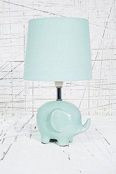 Lampe éléphant vert menthe avec prise britannique