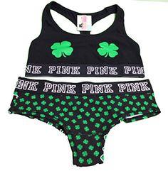 42d8e1e374 VICTORIAS SECRET PINK logo Cotton Bra Top Cheekster Panty set Small  Shamrocks   Click image to review more details.