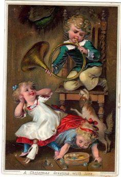 Rare Victorian Xmas Card Embossed Kids AT Play King Charles Spaniel Hunting Horn