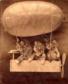 """""""All Aboard for Cloudland,"""" by Harry Whittier Frees.  Original caption reads - Susie and her little sister were a little nervous when they began their first ride on the transcontinental blimp express.  Only the pilot appeared confident."""" From the darling book, """"Animals Aloft,"""" by Allan Janus"""